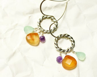 Bright Colorful Real Stone Cluster Teardrop Loop Earrings, Fun Drops