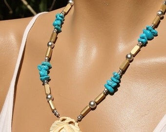 Vintage Carved Faux Ivory Rose Pendant Turquoise Necklace, Remember the Rose