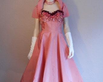 That Unforgettable Gal - Vintage 1950 Emma Domb Rose Pink Satin Floral Bodice Shrug Cocktail Dress - 2