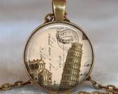 Steampunk Pisa pendant , Italy pendant, Pisa, Italy necklace, travel jewelry, travel memento, Pisa keychain key chain