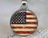 American Flag necklace, American Flag pendant, American Flag keychain key chain key fob, Americana pendant, antique flag pendant