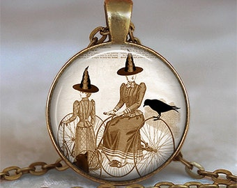 Bicycle Witch necklace, witch pendant, vintage bicycle pendant, Hallowen jewelry resin pendant, witch keychain key chain