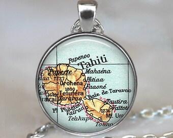 Tahiti map pendant, Tahiti map necklace, Tahiti necklace, Tahiti pendant, map jewellery, map jewelry, map keychain key fob key ring