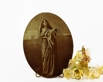 Antique Art Photo, Mother and Child, Madonna, Baker Art Gallery, 1900s Photograph, Vintage Oval Photo,Photo on Glass