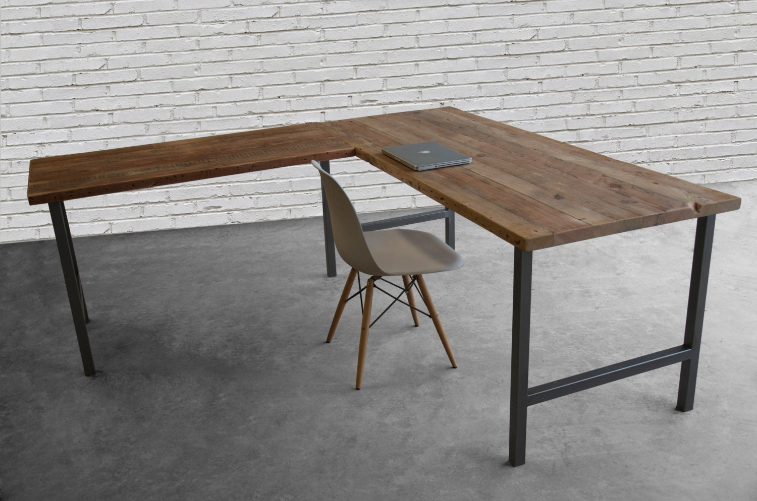 Amazing photo of Shaped Desk with reclaimed wood top and square by UrbanWoodGoods with #614733 color and 1500x994 pixels