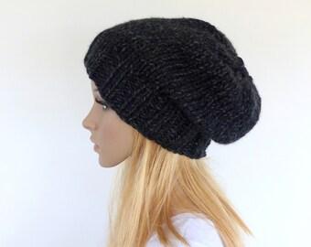 Black Chunky Knit beanie Slouchy hat Black Slouchy beanie Knit slouchy hat -  Mens Beanie