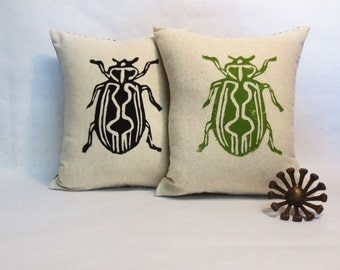 Hand Block Printed Beetle Insect Pillow - In Your Choice of Green or Black Print