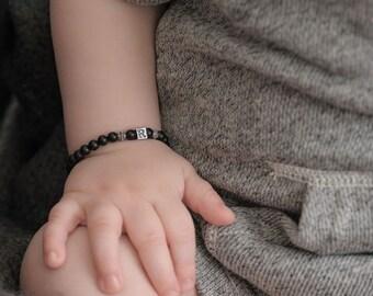 Boy Bracelets, sterling silver initial, black onyx bracelets, new baby gift twins 1st birthday, grandson, nephew, son, big brother PHILIP