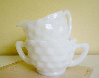 Vintage Milk Glass Sugar Creamer, Cubist Pattern, Hazel Atlas Glass