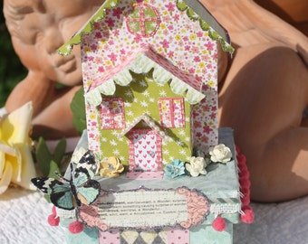 Whimsical Glitter House Gift Box with Butterfly One of a Kind by My Cozy Cottage Designs Floral