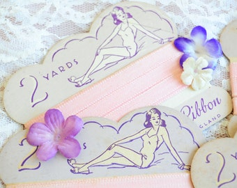 Vintage pink lingerie ribbon on original card