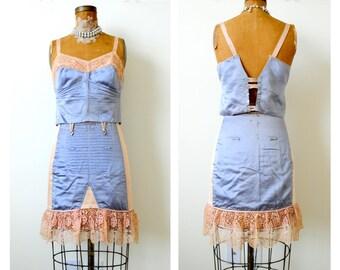 Vintage 1930s blue satin pink lace trim corset set French boudoir