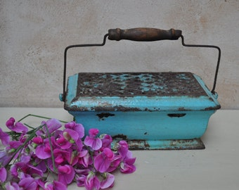 Antique French Enamelled Footwarmer - Carriage Heater Foot Warmer - Cast Iron - Turquoise