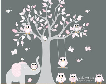 Vinyl Wall Decal  Wall decals nursery - Nursery Tree Vinyl Decal -