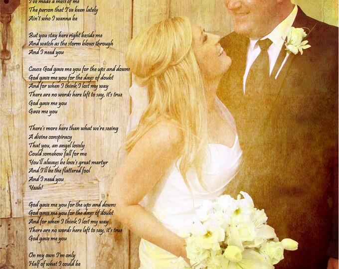 Custom Canvas GiftText Art Word Art  Song Lyrics Wedding Vows on Canvas 16x20