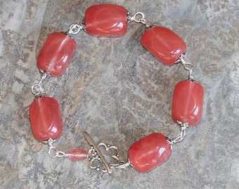 Pink Flower Bracelet, Strawberry Quartz Bracelet, Natural Stone Bracelet, Pink Bracelet, Silver Bracelet, Handmade Bracelet, Chunky Bracelet