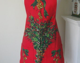 Vintage CHRISTMAS Bib APRON Red Green Cotton Jiingle Bells Holly Boughs PETITE
