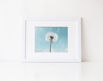 Dandelion Wall Art, flower print, floral print, wish art, blue white decor, dandelion photography, dandelion print, home decor, nursery art
