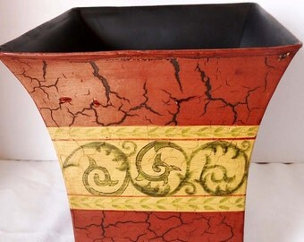 Square Footed Tin Planter Terra Cotta Sienna Vine Tole Art Planter Numbered Home and Garden Lawn and Garden Gardening Pots and Planters