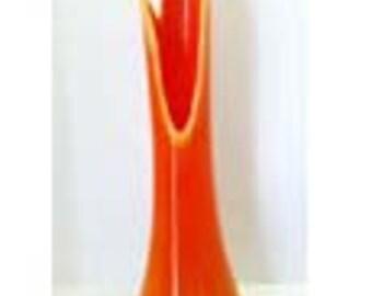 Tall Orange and Yellow Art Glass Flower Vase Glass Home and Garden Decor Vases Flower Vases
