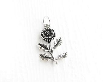 Dandelion Sterling Silver Charm