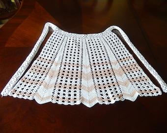 Vintage hand crocheted white light peach apron