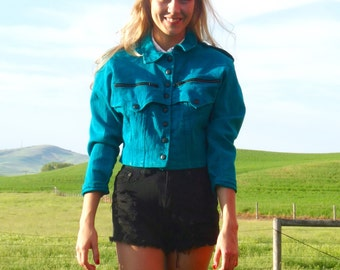 80s Teal Denim Cropped Motorcycle Bomber Jacket xs s