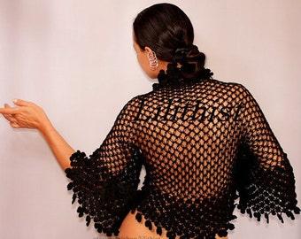 Black Shrug, Bolero, Crochet Shrug, Bridal Shrug, Wedding Shrug, Cover Up, Bridal Bolero Lace Shrug, Cotton Crochet Bolero, Evening Shrug