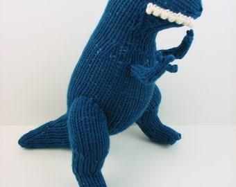 Hand Knit T-Rex: Blue