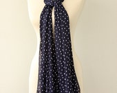 Navy white scarf Chiffon summer fashion Nautical scarves Polka dot shawl Spring celebrations Gift for her Women scarf Swimsuit coverup