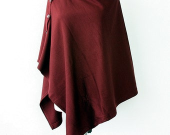 Convertible poncho Burgundy shrug Knit women poncho with buttons Multipurpose shawl Boho bolero cape scarf Winter wrap Gift idea for her