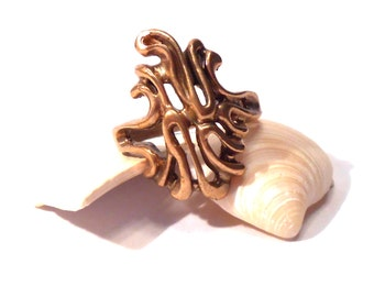 Free-Form Bronze Brass SALE Coral Freeform Ring