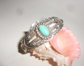 Turquoise Bracelet Fred Harvey Era Stamped Silver Cuff Fabulous Antique Beauty