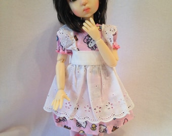 Hello Kitty Pink Dress and Pinafore for MSD BJD  modeled by MeiMei