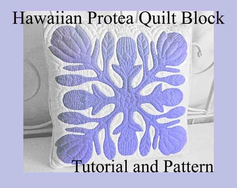 """Hawaiian Protea Quilt Block, Hawaiian Quilting, Pattern and Tutorial PDF, Digital Download, Step By Step Instructions and Photos, DIY 18-22"""""""