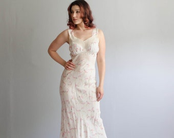 Vintage 1940s Lingerie - 40s Bias Cut Nightgown - Midsummer Night Negligee