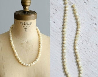Edwardian Beaded Necklace - Antique 1910s Mother of Pearl Necklace - Mollusk Necklace