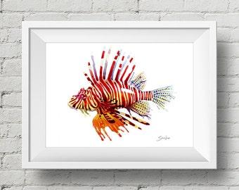 Lion Fish : print lionfish sea life fish watercolor painting
