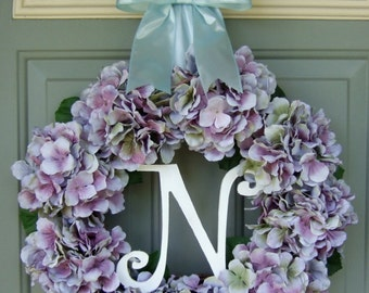 Spring/Summer Wreath - Monogram Summer Hydrangea Wreath - Spring/Summer Door Wreath