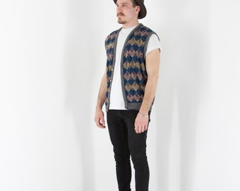 Sleeveless Abstract Vest / Colorful Knitted Cardigan / Retro Oversized Vest