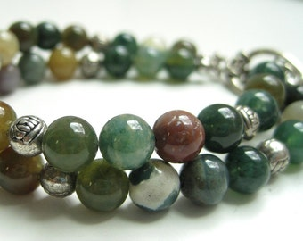 Fancy Jasper Bracelet / Double Strand Stone Bracelet / Earthy Jasper / Autumn Color / Woodland Inspired