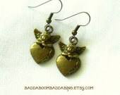 From USA Antique Bronzed Angel Cherub Heart Earrings - Surgical steel French Hooks