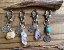 Zodiac keychain, spring clasp zodiac and gemstone keychain, crystal point keychain