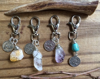 Zodiac keychain, spring clasp zodiac and gemstone keychain, crystal point keychain