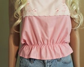 Pink Tank with Floral Bib and Peplum Detail