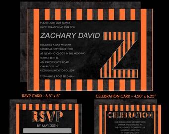 Bar Mitzvah Invitations, Orange and Black Initial