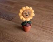 Needlefelted Sunflower - Needle Felt Plants vs Zombies Plant - Felted Mini Game Character
