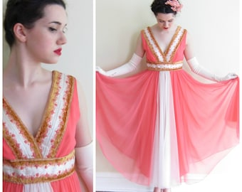 Vintage 1960s Party Dress in Coral Pink Chiffon / 60s Evening Dress by Frances Brewster / Medium