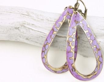 Purple Earrings Brass Jewelry for Women Periwinkle Lavender Leverback Earrings Hand Painted Bohemian Earrings Boho Chic Gifts for Women
