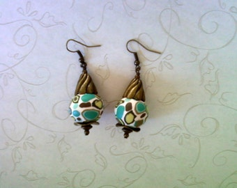 Lime Green, Olive Green, Teal and Brown Spotted Earrings (1775)